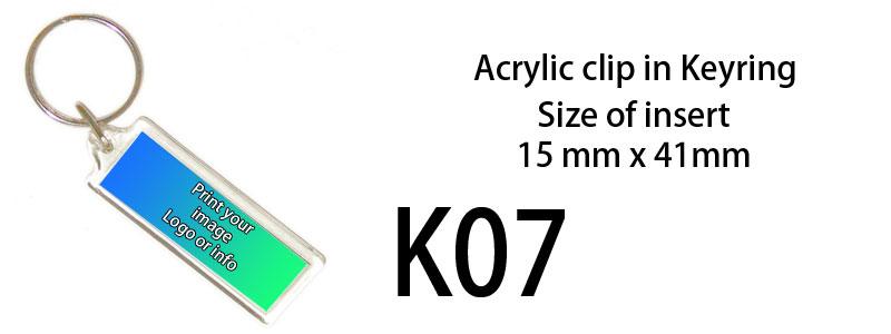Printed Keyring (15mm X 41mm)