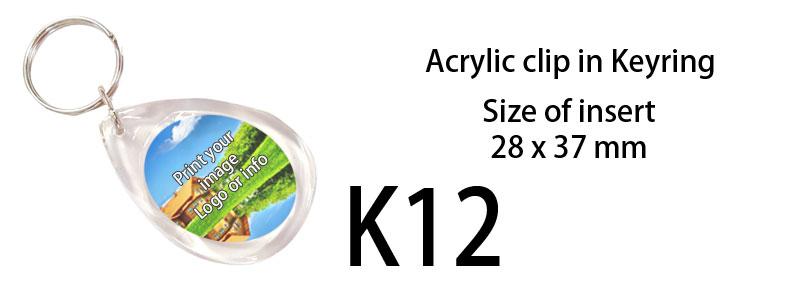 Printed Acrylic Keyring (28mm X 37mm) Teardrop