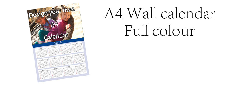 A4 Calendar, Full colour, single page
