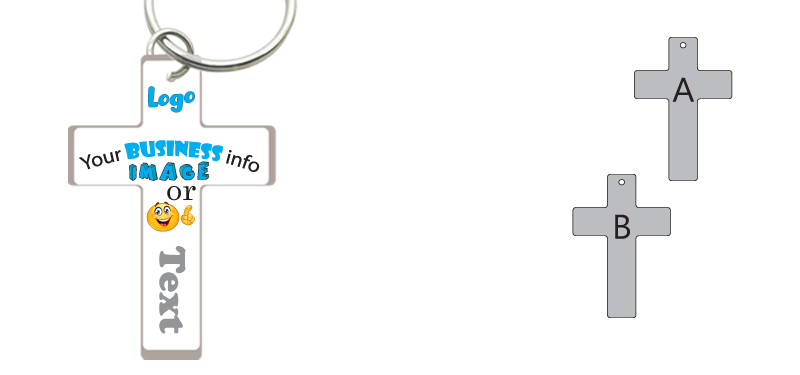 UV Printed Perspex Keyring (Cross)