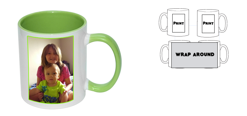 Personalised white Mug with Lime Green  inner (Printed)