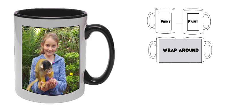 Personalized white Mug with black inner (Your image or text)