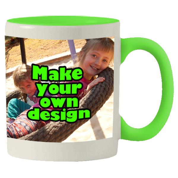Printed Lime Green inner white mug with print