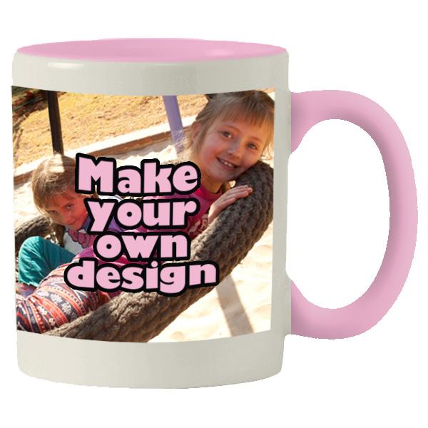 Printed Pink inner white mug with print